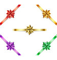 set of multi-colored bows with ribbons on white vector image vector image