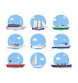 ships and boats in flat style vector image vector image