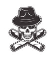 skull in gangster hat and two crossed cigars vector image
