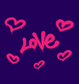 sprayed love font graffiti with overspray in pink vector image