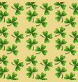 st patricks day green clovers seamless pattern vector image