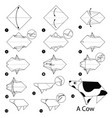 Step instructions how to make origami a cow vector image