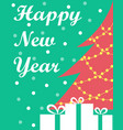the new years card with a christmas tree and vector image