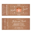 Ticket for Wedding Invitation with wedding house vector image vector image