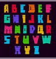 Trendy alphabet bright colored letters uppercase