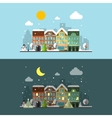 winter city landscape in day and night vector image