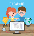 woman and man learning online concept vector image