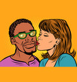 woman kisses a man multi-ethnic couple vector image