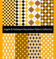 yellow argyle and harlequin collection vector image