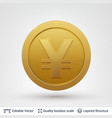 yen symbol on round coin with drop shadow vector image