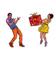 african couple with gift box vector image vector image