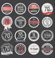 anniversary retro label collection 70 years vector image vector image