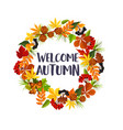 autumn leaf and rowan berry wreath poster vector image vector image