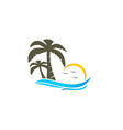 beach and coconut tree logo vector image