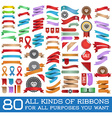 big set colorful ribbons and labels in retro vector image