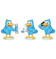 Blue Jay Mascot with phone vector image vector image
