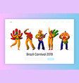 brazil carnival parade character set landing page vector image vector image