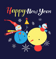 bright festive snowmen on a blue background vector image