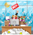 businessman in pile of office papers vector image vector image