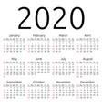 calendar 2020 sunday vector image vector image