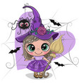 cartoon witch in purple dress and hat vector image vector image