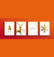 christmas and new year gold low poly deer card set vector image vector image