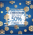 christmas big sale gold frame with snowflakes vector image