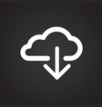 cloud storage download on black background vector image