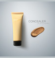 concealer package and smear strokes swatch vector image vector image