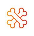 cross bone line color icon vector image vector image