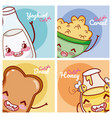 cute breakfast ingredients kawaii cartoon vector image vector image