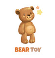 cute funny textile bear toy icon vector image vector image