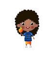 cute smiling black girl standing with apple in vector image vector image