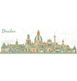 dresden germany city skyline with color buildings vector image vector image