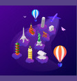 enjoy your flight - colorful isometric vector image