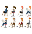 Faceless girls sitting down vector image