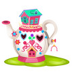 Fairy house in form ceramic teapot isolated on