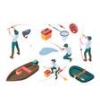 fishing hobbies sport fisherman relaxing at vector image