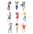 flat set of young people in dancing action vector image