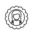 girl line icon concept sign outline vector image vector image
