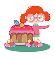 girl with tasty sweet cake and candies vector image