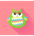 Green flat owl over pink vector image vector image