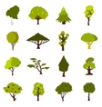 Green tree icons set flat style vector image vector image