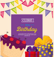 happy birthday card with sweet cake and gifts vector image vector image