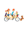 happy family riding on long tandem bicycle vector image vector image