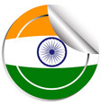 india flag on round sticker vector image vector image