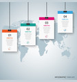 info graphic with hanging banners and clips vector image