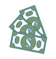 isolated money bills vector image