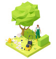 isometric gardener working in garden vector image