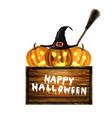 jack-o-lantern halloween pumpkin with black vector image